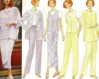 "A Mock-Wrap Maxi Skirt, Shirt Jacket, Princess Seam Vest, Close-Fitting Top, and Pants Pattern for Women: Size 14, Bust 36"" ~ Butterick 4886"
