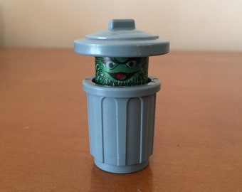 Vintage Fisher-Price Little People Sesame Street Oscar the Grouch in Trash Can with Handle