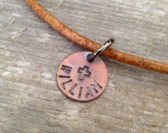 Boys First Communion Gift- Leather Necklace for Boys- Colored Leather Necklace- Confirmation Gift