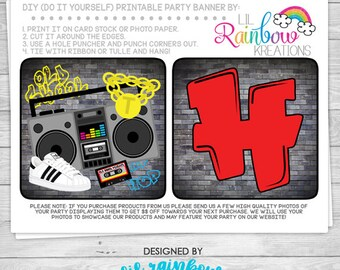 PRTYB-927: DIY - Funky Fresh 80's 90's Hip Hop Party Banner