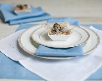 Serviettes carrées bleu clair lot de 6 - serviettes en lin - serviettes de table de Pâques - mélange de lin bleu clair serviettes - décoration de table de Pâques - mariage serviettes de table