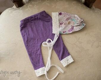 Newborn Mermaid print bonnet and pants set, purple pants set, newborn pants set, newborn bonnet, photo prop, newborn prop