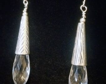 Metal and acrylic drop earrings