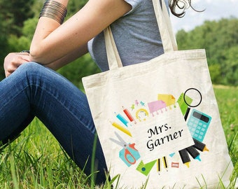 Personalized Teacher Gift Teacher Appreciation Tote Bag Teacher Bag  Back to the School Bag Gift for Her Personalized Gift