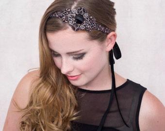 Baroque Rose Beaded Headband Headpiece