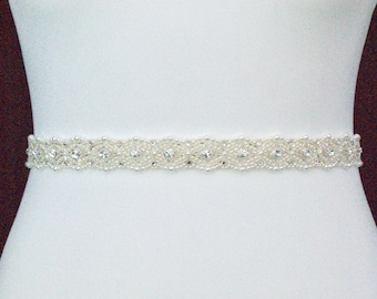 Pearl And Silver Bridal Belt or Sash - Made To Measure - CATHERINE