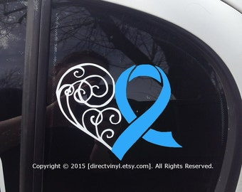Light Blue Awareness Ribbon Heart Window Decal (Cushing Syndrome, DiGeorge, Graves Disease, Prostate cancer, trisomy 18, behcets)