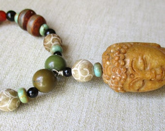 Buddha Head Necklace with Multi-Stone Beads