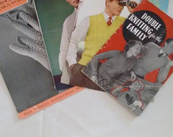 Collection of 4 Vintage Knitting Patterns