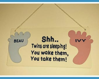 Shh baby sleeping sign, twins sleeping, new baby gift, Baby sleeping, baby gift, baby girl, baby boy, quiet plaque, triplets, footprints