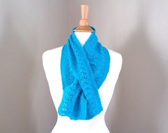 Aqua Neck Warmer Keyhole Scarf, 100% Cashmere, Pull Through Ascot Scarf, Turquoise Blue, Women's Cashmere Scarf