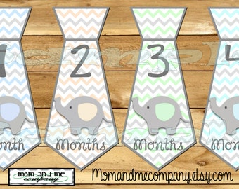 Tie Monthly Stickers Month Baby boy Sticker infant Stickers Infant Neck tie Baby Boy Elephant Necktie milestone baby shower gift PRECUT