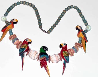 1970s Beaded Carved Parakeet Necklace shipping included US + Canada