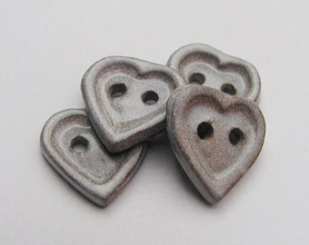 "Buttons 3/4"" - Handmade Stoneware Artisan Heart Buttons - White/Cream, Small Set of Four"