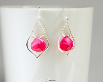 May birthstone wire wrapped sterling silver earrings with genuine very bright pink chalcedony faceted briolettes, wire wrap dainty earrings