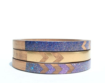 Bat for Lashes Skinny Bangle Set/ Wood Bracelet Trio/ Stacking Bangles/ Painted Cosmic/ Space/ Gold/Chevron Design/ xs-xl