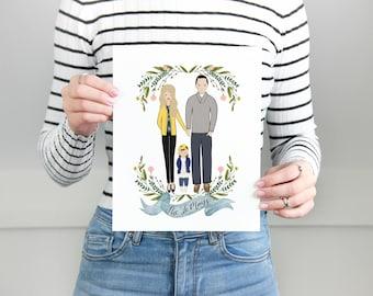 Custom portrait of couple, Custom couple illustration, personalized portrait, family illustration with pets, wedding gift, wedding portrait