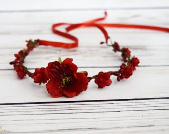 Handcrafted Red Wildflower and Rose Flower Crown - Flower Girl Crown - July 4th Headband - Toddler Flower Crown - Adult Flower Crown - Halo