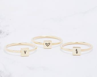 Initials Ring-Personalized Stacking Band-Dainty Name Ring-Minimal Stacking Personalized Rings-Custom Name Ring PR01