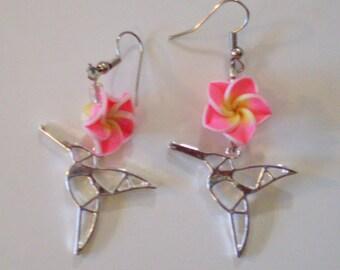 Hummingbird and Flower Earrings