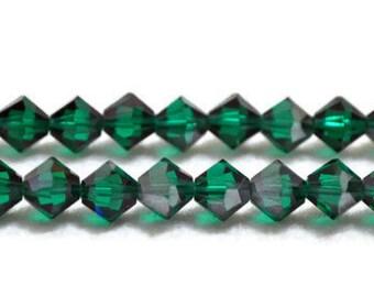 Swarovski Crystal Bicones 6mm - Emerald Satin - Article 5301