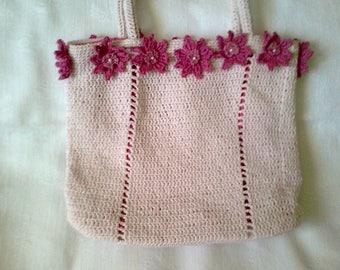 very light pink crochet bag handmade