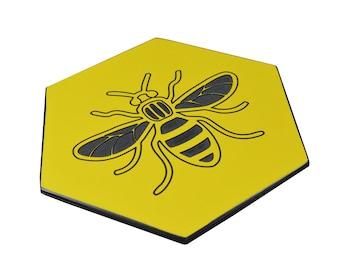 Manchester Bee Engraved Hexagonal Drinks Coaster (Yellow)