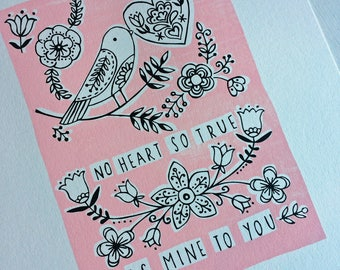 Bird and heart valentines/anniversary/romantic 8 by 10 screen print