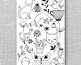 Temporary Tattoos 4x6 sheet \ Illustrated tattoo\ Temporary Tattoo\ Fake Tattoo\ Cute Tattoo\ Animal Tattoo\ Floral Tattoo