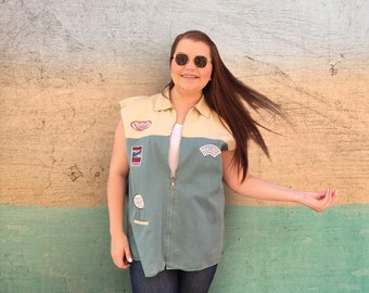 Vintage 1990's Tan and Teal Canvas Patched Sleeveless Zip Up