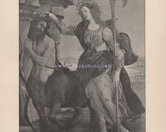 Warrior Queen-Virgin Goddess Wisdom-Pallas Athene-Botticelli-1890 Antique Vintage Art Print-Gothic-Greek Mythology-Zeus-Submissive Centaur