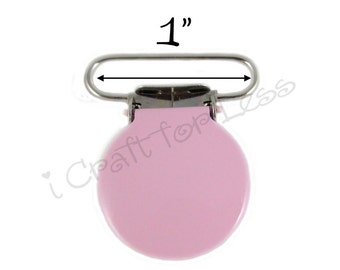 100 Suspender Clips - Bubble Gum Pink Enameled 1 INCH Round Face Pacifier Mitten Clips - SEE COUPON