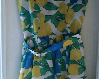 Dress sleeveless yellow and blue motif floral T36