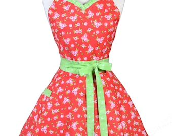 Sweetheart Retro Apron - Petite Pink Rose Floral on Red with Green Apron - Womens Flirty Sexy Kitchen Pinup Cute Apron - Monogram Option
