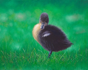 Duckling - Check Me Out. Original oil painting of a cute, fluffy duckling
