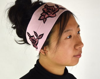 Wide and soft rose jersey headband with 3 black embroideries, Louise Brooks style