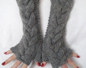 Fingerless Gloves  Wrist Warmers Grey Cabled, Extra Long and Soft and Warm in Virgin Wool and Mohair