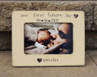 Our First father's day gift frame Personalized father's day Picture frame gift for dad grandpa gifts gifts for papa