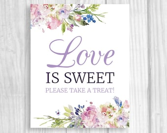 Love is Sweet Take A Treat Wedding or Bridal Shower Candy Buffet Printable Sign - Purple Lavender Watercolor Flowers - Instant Download