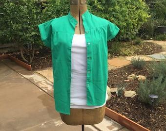 Stamford Cotton Polyester Green Button Down / Short Sleeve / Blouse / Mandarin Collar / Cap Sleeve / Cuff / Size Small