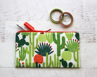 Cactus pencil pouch - stocking stuffer pouch - planner pouch - cactus pen case - school supplies - cactus print bag - pencil case