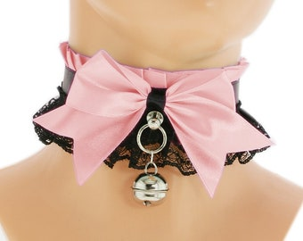 pink collar kitten play collar ddlg collar princess collar day collar kawaii collar kitten play choker kittenplay petplay bdsm collar 9U
