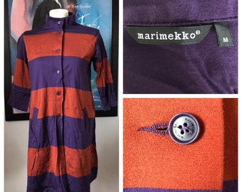 Vintage Marimekko Dress / Rust and Purple big stripes / Size Medium / Finland