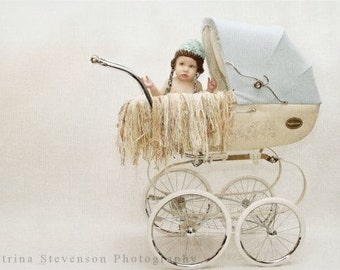 Pale Fringe Baby Blanket Yarn Photo Prop Photography Prop for Pram Buggy Stroller