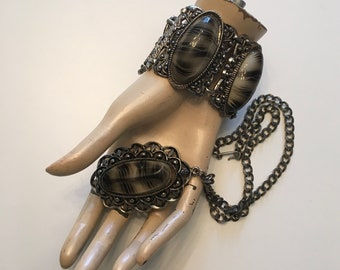 1950s 1960s Silver Gray Necklace Bracelet Set 50s 60s