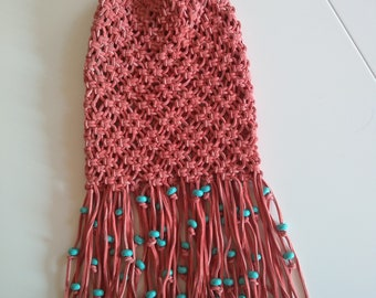 Beautiful coral suede crocheted bag
