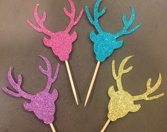 Glitter Stag Head Cupcake Toppers, Set of 12