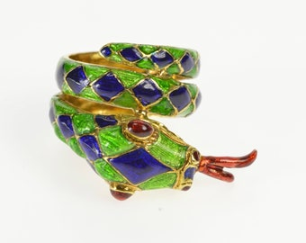 18K Ornate Enamel Coiled Serpent Snake Freeform Ring Size 5.5 Yellow Gold