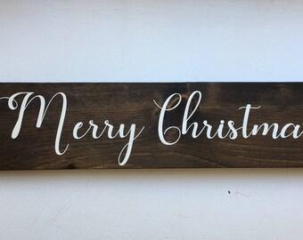 Merry Christmas | Merry Christmas Wood Sign | Christmas Sign | Merry Christmas Sign | Christmas Decor | Wood Christmas Sign |