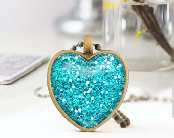 Turquoise heart necklace, Glitter heart necklace, Long bronze necklace, Heart pendant, Love Gift for mon, Glass dome jewelry, 5052-S16